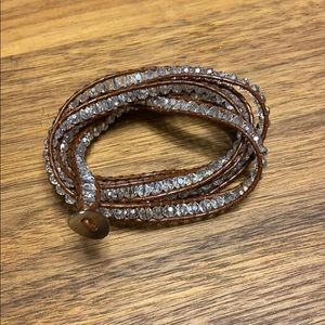 Jewelry - Wrap bracelet, brown leather with crystal